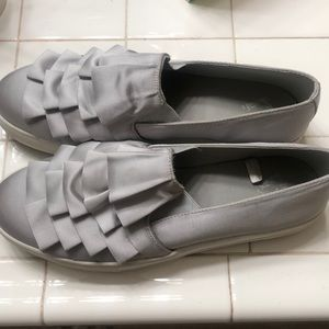Grey satin Slip ons